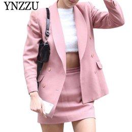 Jackets ladies winter wear online shopping - YNZZU Pink Color Women Suit Blazer Autumn Winter Double breasted Ladies jacket Long sleeve office style Female Blazer YO877