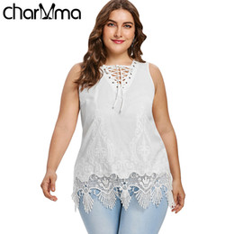 c3f3e83aa Charmma Plus Size Lace-up Openwork Tank Top Summer Tops Women Casual V-neck  Criss-cross Hollow Out Lace Tanks Ladies Clothes 5xl Y19042801