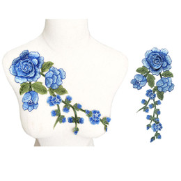 China 29CM Embroidered Sew On Patch Blue Rose Flowers 3D Peony Wedding Appliques Lace Trims For Bride Evening Dress DIY Decoration suppliers