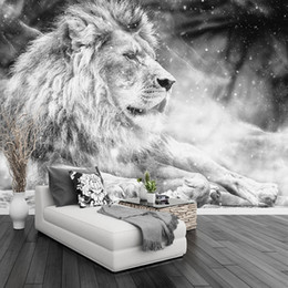 $enCountryForm.capitalKeyWord NZ - Custom Any Size Mural Wallpaper 3D Black And White Lion Wall Painting Living Room TV Sofa Bedroom Home Decor 3 D Papel De Parede