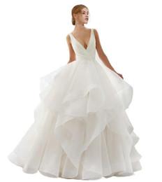 Wedding Dresses Plus Size Brides UK - 2019 Princess Sexy V Neck A Line Wedding Dress Pleats Ruffle Long Bride Dress Sweep Train Elegant Sexy Backless Wedding Gowns