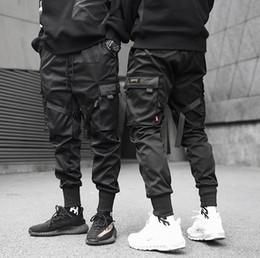 Lado dos homens bolsos Hip Hop Patchwork Cargo Calças Moda Calças venda por atacado