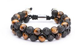 0143e44a5b2b Ojo de tigre Lava Rock Esencial Difusor de aceite pulsera Ajustable Natural  Healing Stone Beads Pulseras Brazalete de doble capa regalo de la joyería  M223F
