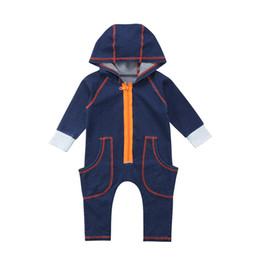 wholesale kids rompers suits NZ - Toddler Baby Boys Girls Rompers Infant Kids Fashion Jumpsuit With Pocket Long Sleeve Winter Autumn Children Hooded Suits Clothes