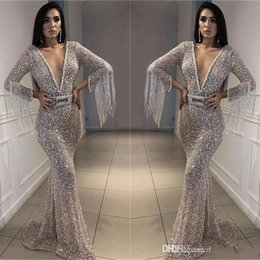 Wholesale New Sequins Memaid Prom Evening Dress Hot Sheath Tassels Peals Party Cocktail Gown Sexy Formal Pageant Dresses Custom Made