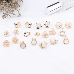 women cat ear studs Canada - 2020 New Fashion Women Cute Opal Fish Flower Stud Earrings Lovely Cat Korean Pendientes Jewelry Gifts Ear Accessories