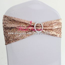 Wholesale Chair Cover Sash Bows Australia - 50pcs Round Buckle Spandex Lycra Sequin Cover Sash Bands Elastic Stretch Glitter Chair Bow Ties Hotel Party Wedding Decor Q190430
