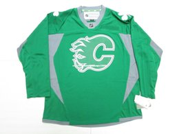 a253cd9e52b Cheap custom CALGARY FLAMES ST. PATRICK S DAY GREEN HOCKEY JERSEY stitch  add any number any name Mens Hockey Jersey XS-6XL