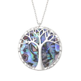 $enCountryForm.capitalKeyWord Australia - Jewelry Life Tree Pendant Natural Abalone Shell Necklace 14k Gold Plated Necklaces Sliver Rose-gold White Shell Sweater Chain in Stock