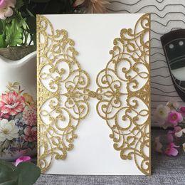 $enCountryForm.capitalKeyWord Australia - 20PCS  lot Hollow Laser Cut Wedding Invitation Cards With Luxury Sculpture Design Birthday Party Business Invitations Supplies