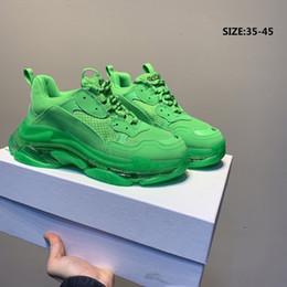 Women s flat leather shoes online shopping - 2019 Luxury Paris Triple S Sneakers Transparent Nitrogen Crystal Outsole Running Shoes Men Women Trainers Designer Black White EUR