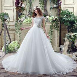 White Brides Dresses NZ - White Elegant Wedding Dresses O Neck With Lace Cap Sleeves A Line Long Wedding Party Bride Dresses For Women Wedding Gowns