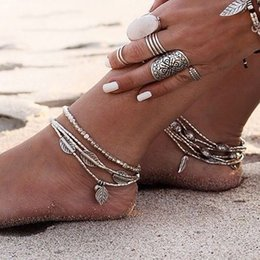 Discount layers anklet chain - Anslow Cheap Price Feather Leave Ankle Bracelet Barefoot Sandals Anklets For Women Beach Foot Jewelry Leg Chain Multi La