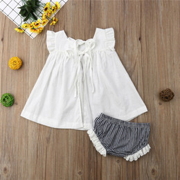 Toddlers bouTique online shopping - Kids Little Girls Summer Sleeveless Set Vest Tank Plaid Lace Shorts Outfit Piece Infant Boutique Toddler Children Bow Blouse TopA3122