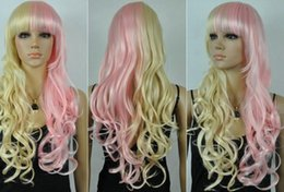 $enCountryForm.capitalKeyWord Australia - HOT Free Shipping >>>>New girl's charming Long Pink yellow blend Hair Curly Cosplay wig