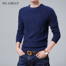 Middle age sweater online shopping - Men s Sweater Wool Autumn Winter Cashmere Sweate Base Sweater Pure Color O Collar Youth Middle age Long Sleeve Jacquard