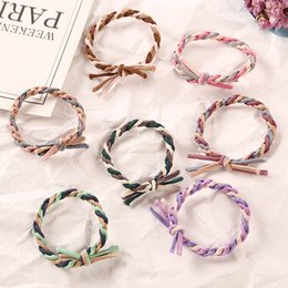 Wholesale 1PC Fashion Handmade Woven Colorful Elastic Rubber Band Hair Band Rope Headwear Ponytail Hair Accessories Girl Women Tie Gum