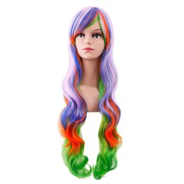 $enCountryForm.capitalKeyWord UK - 2019 Fashion Women's Sexy Wig Full Bangs Muticolor Wig Long curly hair Styling Cool Temperature for hairstyles professional