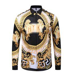 $enCountryForm.capitalKeyWord NZ - 18-19 Brand New Medusa printed Luxury Men Dress shirt Slim Fit cotton shirts for men black print casual Business tops social clothes