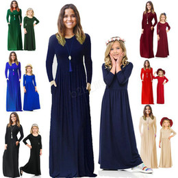 $enCountryForm.capitalKeyWord Australia - INS Mummy Baby solid Dress Bohemian Matching Dress Girls Maxi Dresses Mother Daughter Long sleeves Boho Dress Family Party Dresses LJJA2917