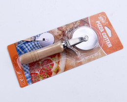 Hob Cutters Australia - Wholesale wooden handle pizza cutter Pizza hob slab knife - wooden handle trumpet