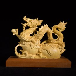 Carved Wood Gifts Australia - China lucky dragon statue Fu Lu animal sculpture wood carving Chinese home furnishings solid wooden carvings