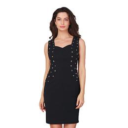 2019 New Fashion Spring Summer Sleeveless Beading V-neck Slim Pack Hip Sexy Women  Elegant Bodycon Dress Plus Size Dresses Frocks d8ba68bf0