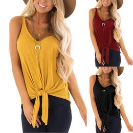 ebe78f424fdfa YOUYEDIAN Women tank tops 2019 summer Fashion V Neck Casual Sleeveless Vest  Soild Tie Up Tee Shirt Tops