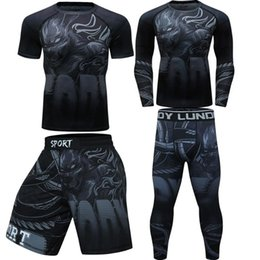 thai box shorts NZ - Rashguard Black roaring tiger Tight sets fighting Boxing jerseys muay thai shorts clothing rash guard jiu jitsu t shirt