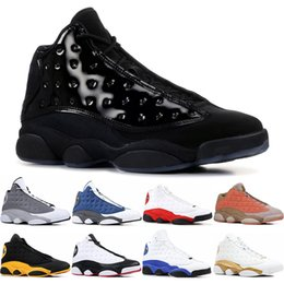 melo basketball UK - New 13 13s Mens Basketball Shoes Italy Blue melo class of 2003 Pure Money Black Cat bred Flint sports sneakers size 7-13