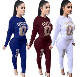 $enCountryForm.capitalKeyWord NZ - Women Golden Letter Printed Suits Casual 2pcs Pants Solid Color Clothing Hooded Sects Fashion Apparel