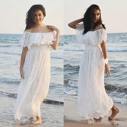 c0fb87b4f70e Off the Shoulder Floor Length Lace Wedding Dresses Summer Long Beach  Wedding Gowns Custom Made Hippie Country Bridal Dresses