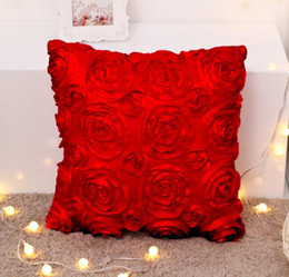 convex pillow Australia - Cushion Pillow fashion Brand original wool Soft romantic Living sofa Ins Hotel wedding 3D roses Luxury Velvet cushion pillowcase