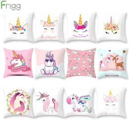 chair cushion cartoon 2019 - Frigg Unicorn Sofa Decorative Cushion Covers Cartoon Owl Seat Cushion Chair Home Decor Pillow Case Pillowcase 45*45 Pill