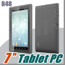 Wholesale 848 1pcs 7 inch Capacitive Allwinner A33 Quad Core Android 4.4 dual camera Tablet PC 4GB 512MB WiFi EPAD Youtube Facebook Google A-7PB