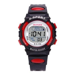 watch water digital 2019 - 2018 NEW Waterproof Children Boys Digital LED Sports Watch Kids Alarm Date Watch Gift c829 discount watch water digital