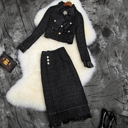 Wholesale tweed skirts resale online - Autumn new European and American women s wear Long sleeve studded bow coat skirts Fashionable bright silk tweed suit