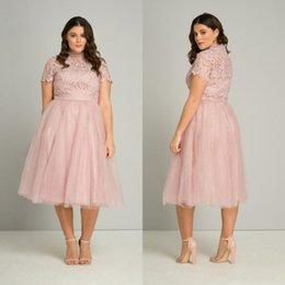 $enCountryForm.capitalKeyWord NZ - 2018 High Neck Pink Tea Length Plus Size Prom Dresses Lace Appliqued Formal Evening Gowns Cheap Short Sleeve Special Occasion Party Dress