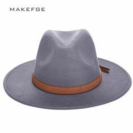 cbfc57a6e3c 2016 Autumn Winter Sun Women Men Fedora Hat Classical Wide Brim Felt Floppy  Cloche Chapeau Imitation Wool Cap C19041701