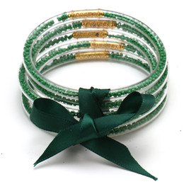 Glitter drops online shopping - Drop green ALL WEATHER Glitter Silicone Circles Bangles Bracelet Women pure color Bowknot Beads Jelly Prayer gifts