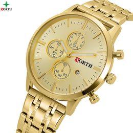 $enCountryForm.capitalKeyWord Australia - watch for North Brand Luxury Gold Men's Watch Business Waterproof Calendar Dress Watches for Men Golden Antique Casual Male Clock