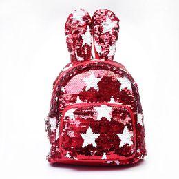 Sequins Backpack Cute Rabbit Ears Shoulder Bag for Teenage Girls School Bag  Bling Rucksack Shiny Backpacks MMA1365 30pcs f4a5937396