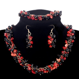 Red Coral Beads Pendants Australia - Stone Jewelry Sets Vintage Full Black Red 100% Nature Coral Beads Earrings Bracelets Choker Necklaces Women