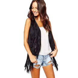 Ethnic vEst online shopping - Streetwear Top Blouse Women Winter Ethnic Sleeveless Fringed Vests Cardigan Retro Faux Suede Tassel Coats Solid Pure Warm Vest