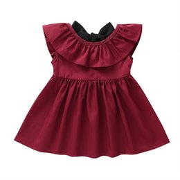 Bow Old Australia - Kids Girl Solid Cotton Dress Summer Clothes for Baby Girls Ruffle O-Neck Princess Dress Backless Bow Skirt 0-6Years Old Children Cute Dress