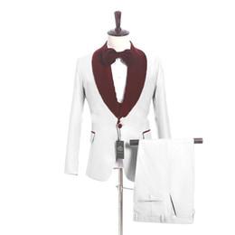 $enCountryForm.capitalKeyWord UK - White Champagne Black Groom Tuxedos Burgundy Lapel Mens Wedding Tuxedos Slim Fit Man Jacket Blazer 3 Piece Suit(Jacket+Pants+Vest+Tie) 170