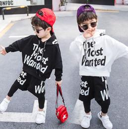 $enCountryForm.capitalKeyWord Australia - Boys letter printed hooded long sleeve sweatshirt+fake two piece pants 2pcs sets 2019 spring new kids sports casual outfits F5173