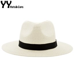 visors for beach Canada - Wide Brim Summer Fedora Jazz Cap Straw Panama Hats For Men Straw Sun Hats Women Beach CAPS Couple Sun Visor Hats Chapeu YY18030 T200104