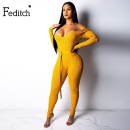 Brown Jumpsuits Women NZ - Feditch Knitted Sexy Party Jumpsuit Women Waist Sashes Playsuits Overall Long Sleeve V Neck Jumpsuit Bodycon Female Romper