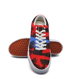 American Canvas Print Australia - Men's canvas running shoes American Flag Guns basketball sneakers Lightweight latest Lace-up Balls Shoe Breathabl popular sneakers